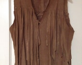 Brown soft suede long hand made vintage vest top  with fringes. One of a kind.