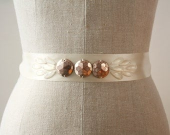Copper Sash, Art Deco Wedding Sash, Bridal Sash