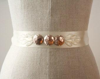 Copper Sash, Art Deco Wedding Sash, Bridal Sash, Sample Sale