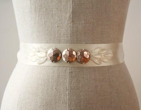 Copper Sash, Art Deco Wedding Sash, Bridal Sash