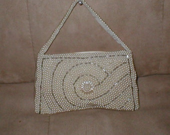 Vintage Ivory Pearl Beaded Evening Purse