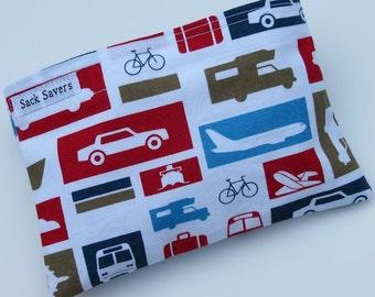 Reusable Eco Friendly Sandwich or Snack Bag Car Planes Bikes