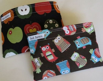 Reusable Snack Bag Set of Two  Apples Owls