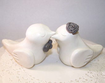 Elegant Bird Wedding Cake Topper - White and Grey - Choice of Colors - FAST SHIPPING