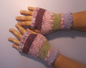 Fingerless Gloves -  Purple Green Pink White Hand Knit Fingerless Gloves