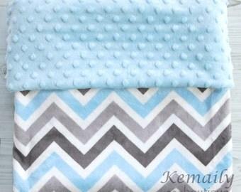 Minky Blanket Grey and Blue Chevron Minky Blanket - Baby Shower - Gift - Boys - Nursery - Decor - Bedding - Travel - Crib