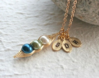 Pea Pod necklace, Three Peas In a Pod Necklace, Initials Necklace, Gold PeaPod Necklace, Personalized Necklace, Gold Filled