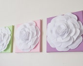 Light Pink Lilac Light Green and White Rose Artwork Set of 3 Trio 12 x 12 Canvases WALL Decor ART Picture Bedroom Bathroom