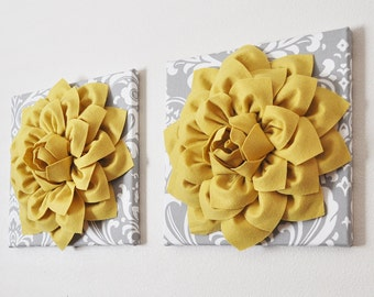 Yellow And Gray Wall Decor flower bathroom art | etsy