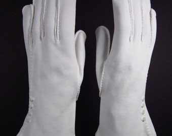 6-1/2-7-Vintage decorative white dress/church/prom gloves-9 inches long(216g)