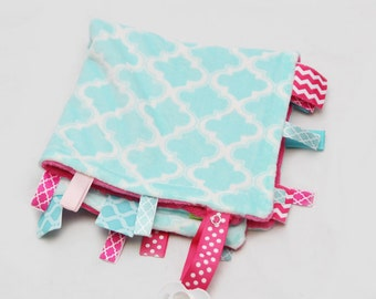 Mini Baby Ribbon Tag Blanket - Minky Binky Blankie - Aqua Moroccan and Fuschia