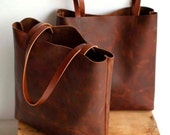 Brown Leather Tote Bag - brown leather bag - Distressed Brown Leather Travel Bag - Leather Market bag