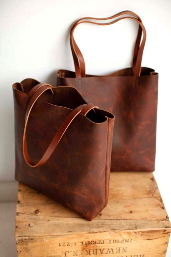 Brown Leather Tote Bag brown leather bag Distressed Brown