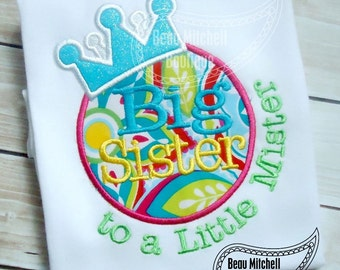 Big Sister to a little mister applique embroidery design