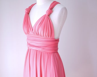 Sample Sale - Convertible/Infinity Dress in bright peach - Size S/M