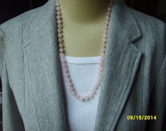 Pink Quartz Necklace and Bracelet, Pink Bead Necklace and Bracelet, Pink Accessories