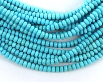 Natural SLEEPING BEAUTY TURQUOISE 4.5mm Rondelle Beads 25 Pcs