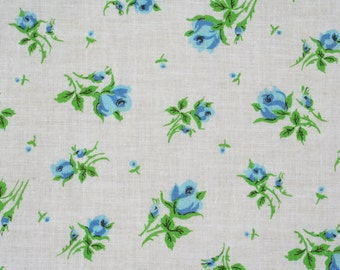 Vintage Feedsack Floral Feed Sack Flour Sack Fabric Blue Roses 37 x 46 inches