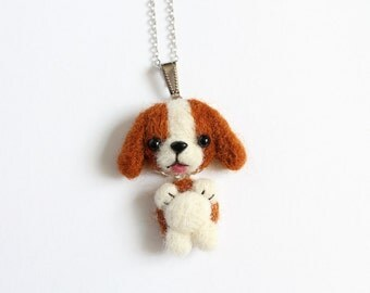 Needle Felted Beagle Dog necklace or brooch or ring or shawl pin
