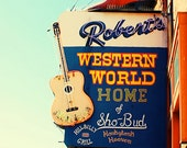 Nashville art Roberts western world urban decor music city hony tonk southern Tennessee photography city travel photography blue wall art