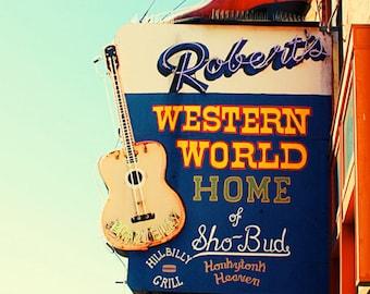Nashville print, neon sign art, Roberts Western World, music city art, apartment decor, Nashville decor, gallery wall art, city print