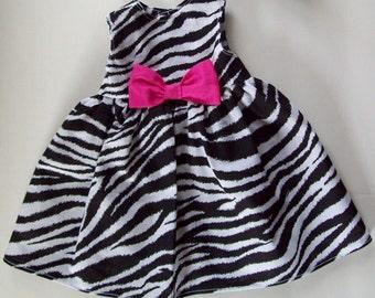 18 inch AMERICAN GIRL DOLL Clothes - Zebra Print Doll Dress - Hot Pink Bow - 18 inch Dolls