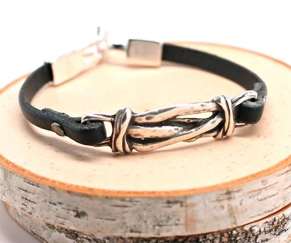 Perfect Leather Bracelet Organic Silver Knot Bracelet Unisex Jewelry Amy FIne Design