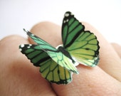 Emerald Green Ring - Kelly Green Jewelry - Shrink Art Jewelry - 3D Butterfly Art Ring - Ombre Origami Butterflies