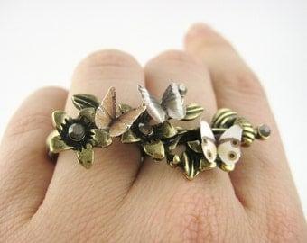 Elvish Ring - Gold Twig Ring - Bohemian Jewelry - Gold Boho Ring - Boho Jewelry - Two Finger Ring - Brown Butterfly Wing Nature Woodland