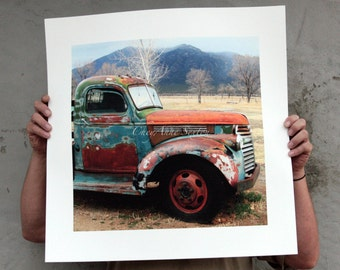 Old Chevrolet Pickup Winter 'Out in the Field' Big LARGE photo 20x20 print Antique farm vehicle Brown Rusty Blue