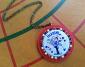 I'm a Yo Yo - Upcycled Vintage Pinback Button Necklace with Toy Yoyo