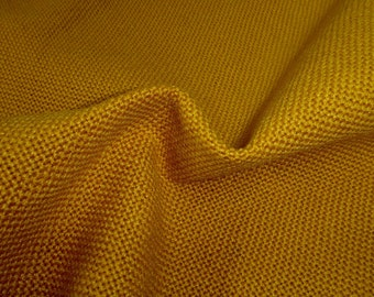 """Heavy Vintage 52"""" Wide Sienna Yellow Ochre Yellow Upholstery Fabric Burlap for Rustic Home Decor Country Decor Cottage Decor"""