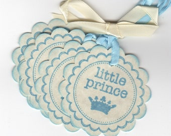 Baby Shower Tags / Little Prince Tags / Baby Boy Fairytale Tags / Gift Tags / Nail Polish Favor Tags / Blue - Set Of 20 Vintage Style