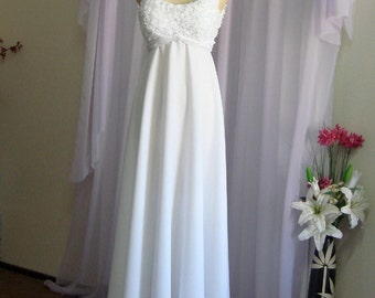 READY to SHIP. Mary - Vintage Inspired Floor Length Wedding Dress. Empire Waist.
