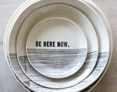 porcelain dinner plate dinnerware modern screenprinted text and graphics.