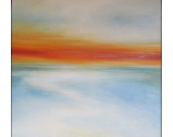 Large Abstract Painting on Canvas Modern Acrylic Skyline- 40x40- Oranges, White, Grays, Blues and more