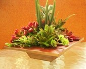 Square Table Planter With Artificial Succulents, Contemporary Faux Wood Planter with Faux Succulents