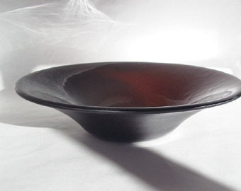 BROWN GLASS BOWL - Dark Brown Fused Glass Bowl, Art Glass Bowl, Brown Home Decor, Autumn Decor, Decorative Brown Bowl, Glass Wedding Gift