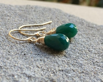 Green Onyx Stone Earrings.  Goldfill Rose gold fill or Sterling Silver