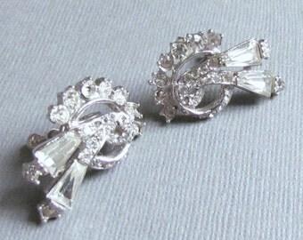 Elegant Clear Rhinestone Earrings Screw Back