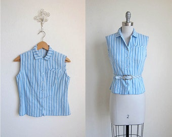 Blue Belted Top | 1960s | Beach Blue Babe