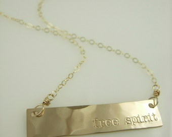 Free Spirit Bar - Hammered Gold Bar Necklace - Nameplate Necklace - Engraved Necklace - Hand Stamped Jewelry