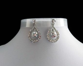 Rhinestone Dangle Earrings, Bridal Dangle Earrings #E4130