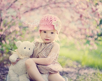 Crocheted Baby Hat for Girls, Crochet Newsgirl Hat, Baby Girl Hat, Pink Girls Hat with Off White, READY TO SHIP, 0 to 12 Months