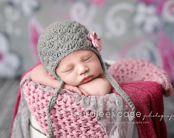 Gray Newborn Baby Hat in Alpaca - Crochet Baby Hats, Baby Girl Earflap Hat, Photo Prop, Newborn Size