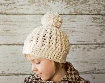 Crochet Pom Pom Beanie Hat for Toddlers, Crochet Hats for Kids, Pompom Beanie for Toddlers, 12 to 24 Months