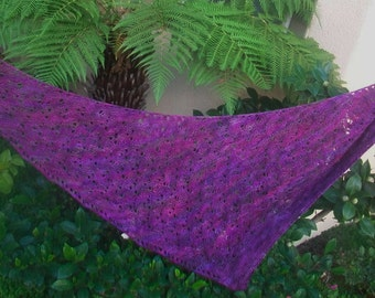 Pink and Purple Canopy Merino Wool Bias Hand Knit Lace Shawlette or Scarf