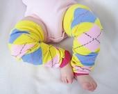 SALE--Baby Leg Warmers--Yellow, PInk & Blue Argyle--Crawler Socks