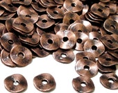 Copper Bead Spacers - Metal Wavy Disc Rondelle - Plain Round Spacer - Diy Findings - Jewelry Components - 14g. 9mm Spacers