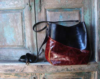Handmade Red and Black Leather Hobo